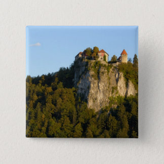 Slovenia, Bled, Lake Bled, Bled Castle on 15 Cm Square Badge