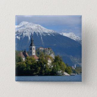 Slovenia, Bled, Lake Bled, Bled Island, Bled 15 Cm Square Badge