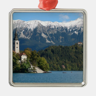 Slovenia, Bled, Lake Bled, Bled Island, Bled 2 Silver-Colored Square Decoration