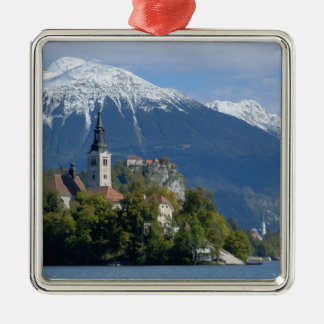 Slovenia, Bled, Lake Bled, Bled Island, Bled Silver-Colored Square Decoration