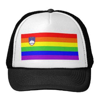 slovenia country gay rainbow flag homosexual trucker hat