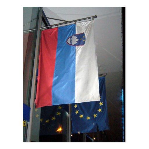 slovenia eu flag postcards
