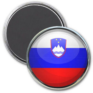 Slovenia Flag Glass Ball 7.5 Cm Round Magnet