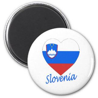 Slovenia Flag Heart 6 Cm Round Magnet
