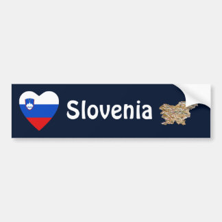 Slovenia Flag Heart + Map Bumper Sticker