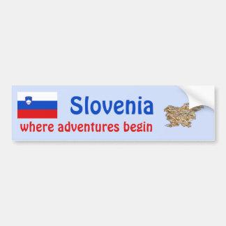 Slovenia Flag + Map Bumper Sticker