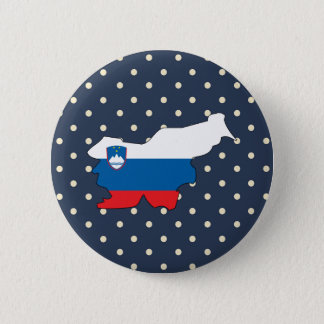 slovenia Flag Map on Polka Dots 6 Cm Round Badge