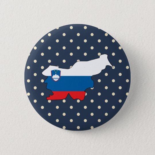 slovenia Flag Map on Polka Dots 6 Cm Round Badge