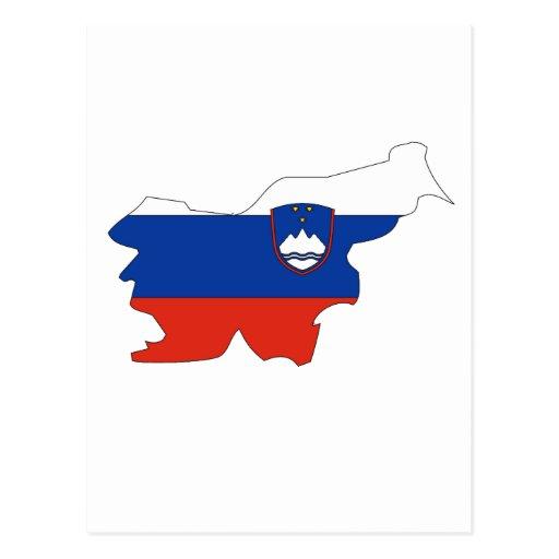 Slovenia flag map postcards
