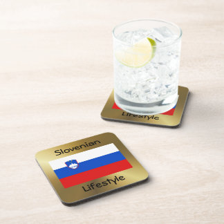 Slovenia Flag+Text Coaster