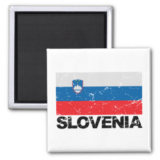 Slovenia Flag Vintage Square Magnet