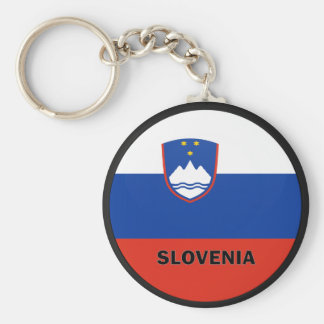 Slovenia Roundel quality Flag Basic Round Button Key Ring