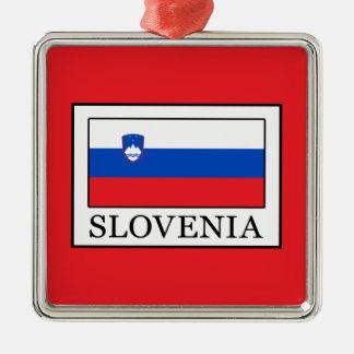 Slovenia Silver-Colored Square Decoration