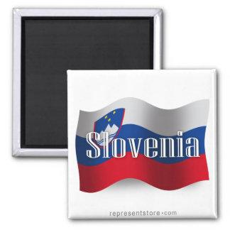 Slovenia Waving Flag Square Magnet