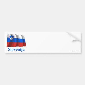 Slovenia Waving Flag with Name in Slovenian Bumper Sticker
