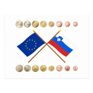 Slovenian Euros and EU & Slovenia Flags Postcard