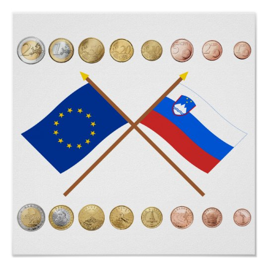 Slovenian Euros and EU & Slovenia Flags Poster