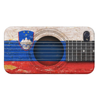 Slovenian Flag on Old Acoustic Guitar iPhone 4/4S Cover