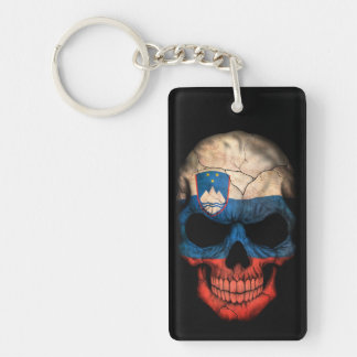 Slovenian Flag Skull on Black Key Ring