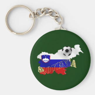 Slovenian Soccer flag Map of Slovenia Basic Round Button Key Ring