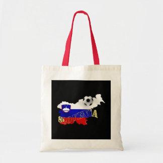 Slovenian Soccer flag Map of Slovenia Canvas Bags
