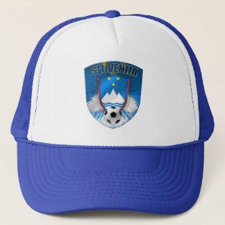 Slovenija shield emblem in light blue explosion trucker hat