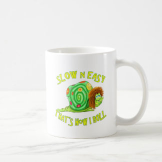 Slow and easy thats how I Roll Basic White Mug