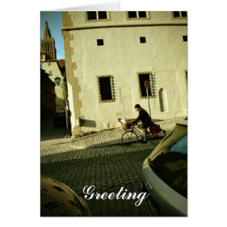 Slow bike riding with your dog greeting card