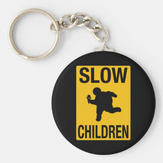 Slow Children fat kid street sign parody funny Basic Round Button Key Ring