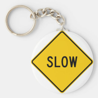 Slow Highway Sign Key Ring