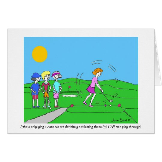 Slow Men Golf Cartoon Greeting Card