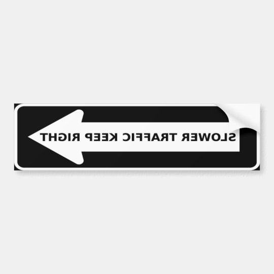 Slow Traffic Keep Right Arrow Bumper Sticker