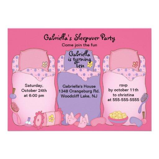 Slumber Birthday Party Personalized Invite
