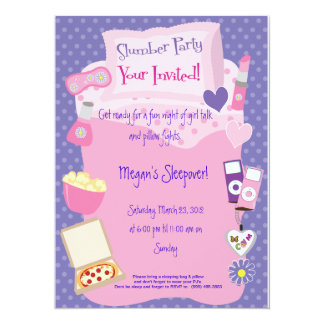 Slumber Parting or Sleep Over! 5.5x7.5 Paper Invitation Card