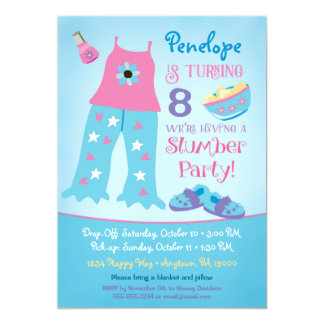 Slumber Party Birthday Invitation Pajama Sleepover