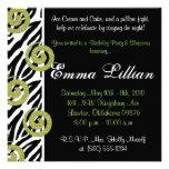 Slumber Party birthday invite fun cute girl zebra