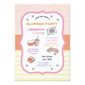 Slumber Party Birthday Sleep Over PJ Pyjama Invite