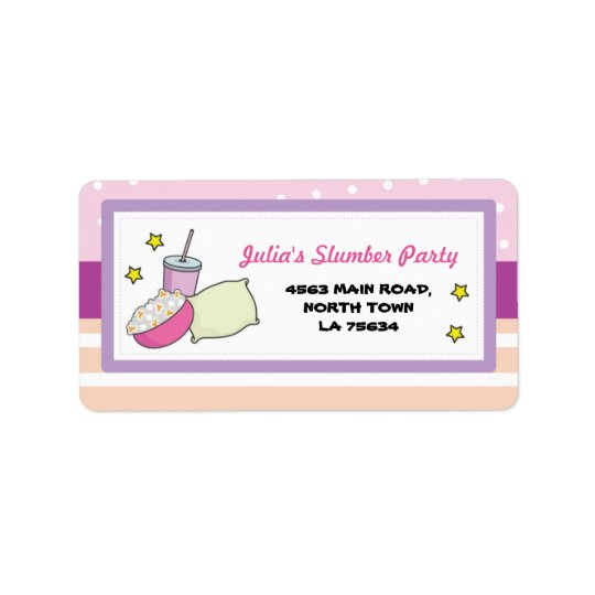 Slumber Party Birthday Sleep Return Address Label