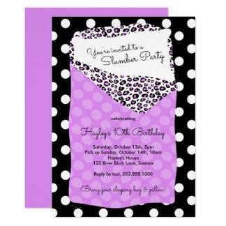 Slumber Party Invitation, Sleeping Bag, Purple Card