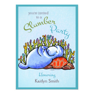 Slumber Party Manatee Turtle Off-Leash Art™ Card
