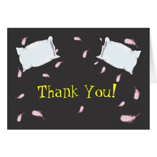 Slumber Party Pillow Fight Birthday Thank You Note Card