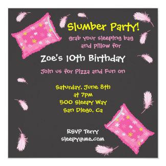 """Slumber Party Pillow Fight Invitation 5.25"""" Square Invitation Card"""