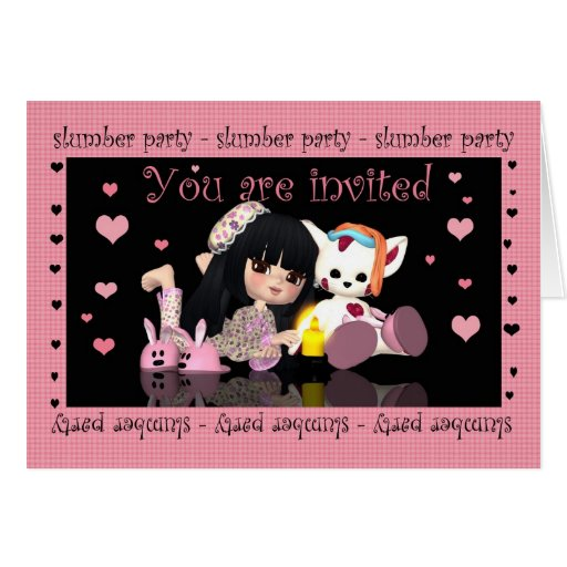 Slumber Party - Sleep Over - Invitation Card