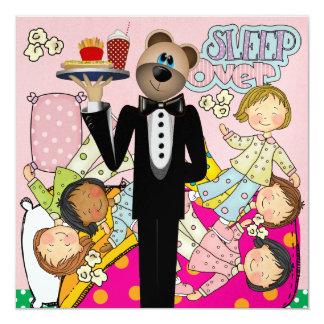 Slumber Party - Sleep Over - SRF 13 Cm X 13 Cm Square Invitation Card