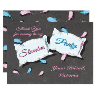 Slumber Party Sleep Over thank you note card 9 Cm X 13 Cm Invitation Card