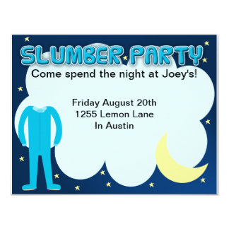 "Slumber Party Sleepover Time 4.25"" X 5.5"" Invitation Card"