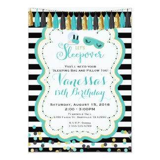 Slumber Sleepover Birthday Party Invitation