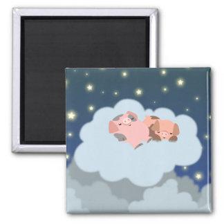 Slumbering Piglets cartoon magnet