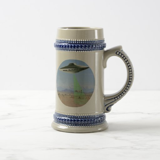 SLV UFO Stein with UFO beaming up Cow Mugs