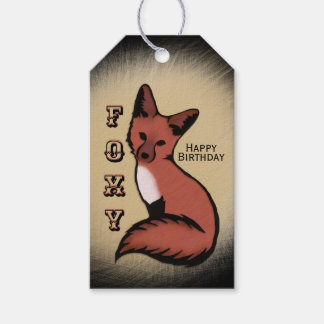 Sly Red Foxy Fox Birthday Gift Tags
